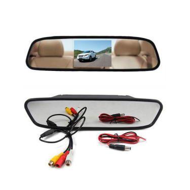 Espelho Retrovisor Monitor Tela Lcd 4.3 Para Câmera De Re