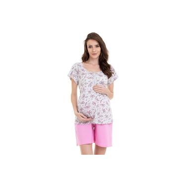Pijama Bermudoll Gestante e Amamentação Estampado Luna Cuore 09