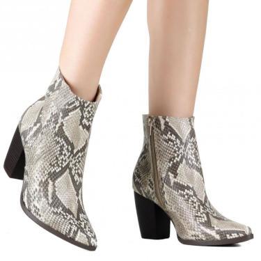 Bota Via Marte Ankle Boot Western Cobra 19-6008 Bege  feminino