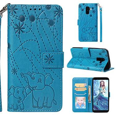 Capa carteira para Galaxy A6 Plus (8), couro PU flip Fireworks Elefante capa protetora magnética com suporte para cartão de crédito e cordão para pulso para Samsung Galaxy A6+/J8 2018/A9 Star Lite-Blue