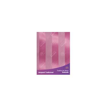 Imagem de Toalha De Mesa Redonda Em Tecido Jacquard Rosa Pink Chiclete Listrado Tradicional