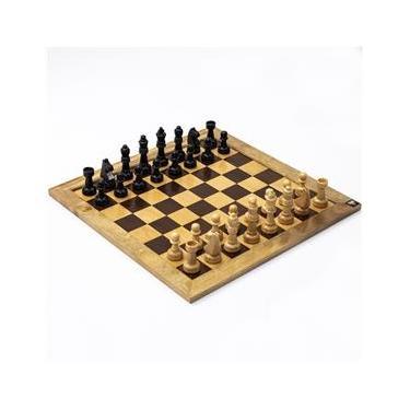 Jogo de Xadrez Tabuleiro Marchetado Madeira Maciça Casas 5x5 com Peças Rei 10 cm