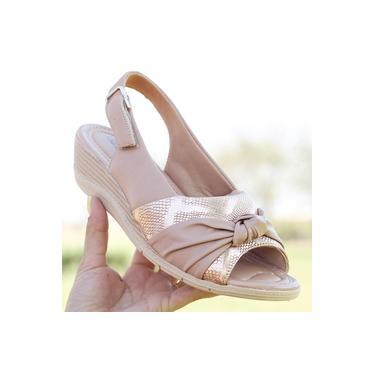 Sandalia Anabela Comfort Flex Rose/Pele/Nude Feminino 19-96405