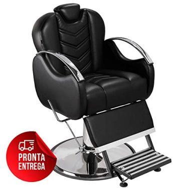 Cadeira de Barbeiro Alfa com Encosto e Apoio de Pé Reclináveis - Pé Cromado - Preto - PRONTA ENTREGA