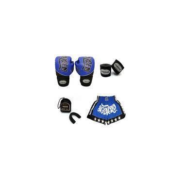 Kit Boxe- Luva Bandagem Bucal Shorts - Tailandês Azul 10 OZ