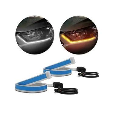Fita de LED DRL Chevrolet Onix Dual Color Universal 3000K 6000K 12V 6,8W Farol e Seta Luz Diurna Daylight 60cm