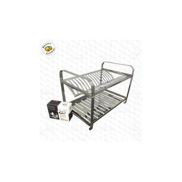 Imagem de Escorredor de Louça 16 Pratos Inox com Porta Talher Inox - Makinox - Mak inox