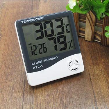 Imagem de Relógio Digital Com Higrômetro e Termômetro Despertador HTC-1