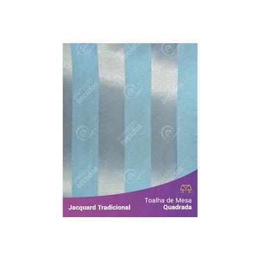 Imagem de Toalha De Mesa Quadrada Em Tecido Jacquard Azul E Prata Frozen Listrado Tradicional
