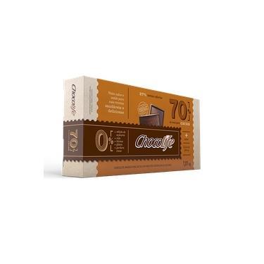 Barra de Chocolate Zero Açúcar Amargo 1,01kg 70% Cacau Chocolife Linha Food Service