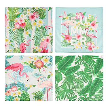 Imagem de Amosfun 4 peças de capas de travesseiro de flamingo, plantas tropicais, capas de travesseiro florais, rústicos, capas de travesseiro para lembrancinhas de festa temáticas de verão