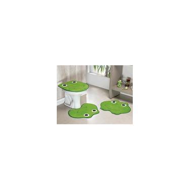 Imagem de Jogo De Tapete De Banheiro Formato Sapo 3 Peças Verde