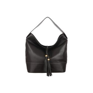 Bolsa Saco Bucket Bag Feminina em Couro Legítimo Metais Dourados Madamix