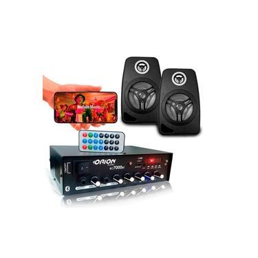 Kit Som Ambiente 500 Watts Bluetooth + 2 Caixas Parede Pretas