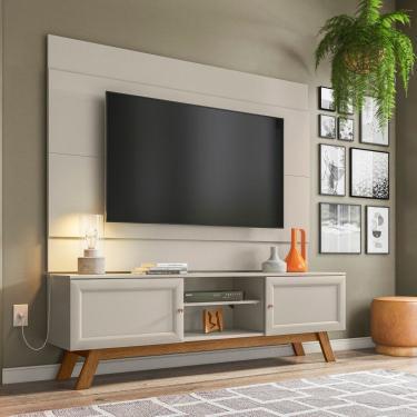 Conjunto Rack Com Painel Para Tv Até 60 Polegadas Ema Retrô Yescasa Off White