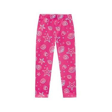 Calça Infantil Legging Menina Estampada Rosa