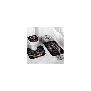 Imagem de Conjunto de cortina de chuveiro de banheiro com impressão de crânio de 1/3/4 pcs Tapete de banheiro para banheiro Kit de tapete antiderrapante Conjunto de tapete de banho 3 peças