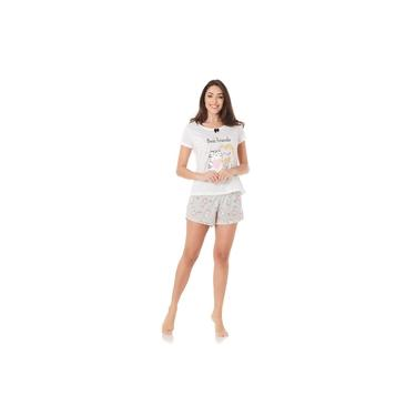 Pijama Estrela e Luar adulto feminino best friends - off white