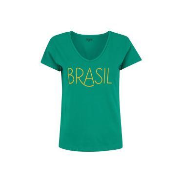 Camiseta do Brasil Fan 2018 Adams - Feminina - VERDE Adams 82ea1f443adcc
