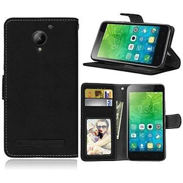 Capa para Lenovo Vibe C2 k10a40 proteção de couro PU com 3 compartimentos para cartões capa flip (Preto)