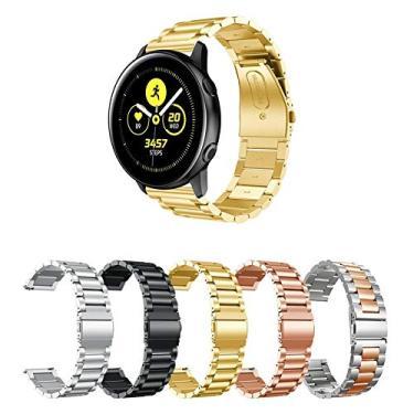 Pulseira Metal 3 Elos para Samsung Galaxy Watch Active 40mm e 44mm - Gear S2 Classic - Gear Sport R600 - Galaxy Watch 42mm - Amazfit Bip - Amazfit Gtr 42mm - Marca Ltimports (Dourado)