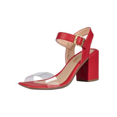 Sandália Feminina Domidona Salto Bloco Bico Quadrado Transparente Vermelha  feminino