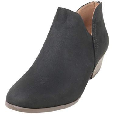 Imagem de Bota feminina Madeline Western com bico redondo e amêndoa – Salto baixo – Zíper – Bota casual no tornozelo, Black Suede, 7.5