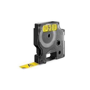 Fita Poliéster Dymo P/ Rotulador Eletrônico Profissional (12mm X 7 Mts) Preto No Amarelo