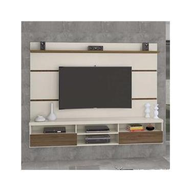 Painel Para Tv Até 70 Polegadas 2 Portas Antares Off White/carvalho - Móveis Germai
