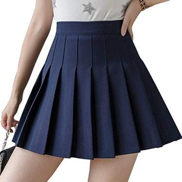 Saia plissada de cintura alta para meninas, saia xadrez simples, evasê, minissaia, skatista, uniforme escolar, shorts com forro, Azul marinho, M