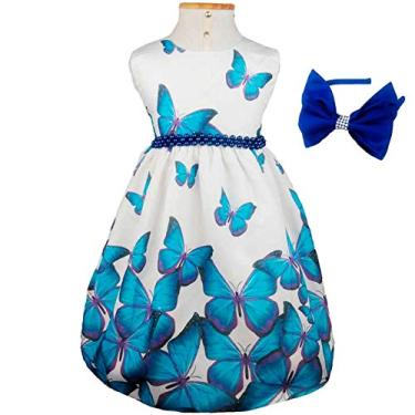 Vestido de Festa Luxo Borboletas Azuis Com Tiara G - 3