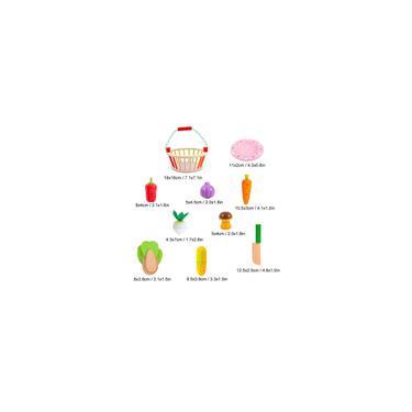 Imagem de Brinquedo infantil Simulação Frutas Vegetais Cortar Conjunto Cesta De Madeira Brinquedos De Casa Para Brincar