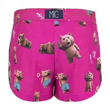 Shorts Feminino Mic Fun Hi I'm Ted Rosa - P