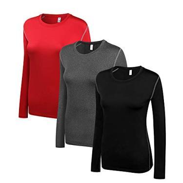 Imagem de Camisa feminina WANAYOU de compressão com ajuste seco e manga comprida para corrida, atlética, treino, tops, 3 Pack(black+grey+red), Large
