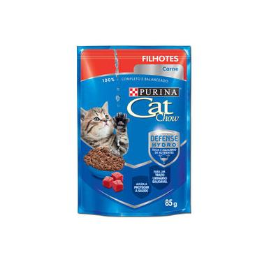 Ração Úmida Nestlé Purina Cat Chow Filhotes Sachê Sabor Carne Ao Molho Caixa Com 15 unidades 85g