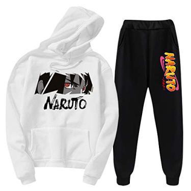 SAFTYBAY Casaco de moletom Naruto Manga com capuz e calça de moletom fashion Naruto moletom com capuz para homens e mulheres, Branco, L