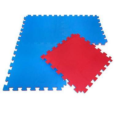 Kit Tapete Tatame EVA 4 unidades 100x100x2cm 20mm Dupla Face Azul e Vermelho