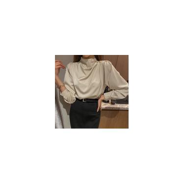 Mulheres elegantes mangas compridas cor sólida tops gola redonda ol Chiffon blusa camisas blusas plus size Bege S