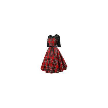 Vestido feminino casual vestido retrô de renda xadrez com costura