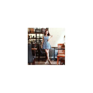 Moda mulheres bonitos vestem Floral ombro de impressão recortada zíper costas O pescoço sem mangas plissadas Mini vestido azul