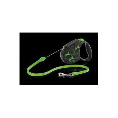 Guia Retrátil Corda Flexi Color - Pequena 12kg - 5mt - Preto E Verde