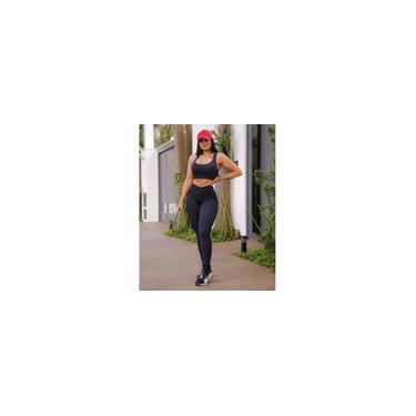 Imagem de Conjunto Feminino Fitness Calça e Top Cós Alto Preto Com Proteção Solar
