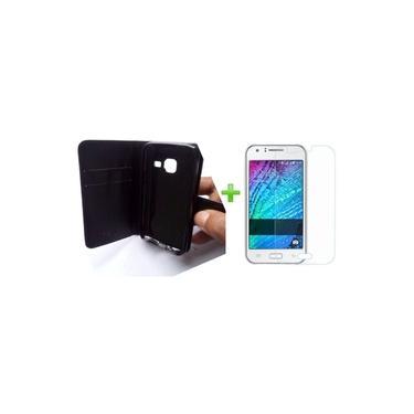 """Kit Proteção Capa Carteira Preta E Película De Vidro Temperado - Samsung Galaxy J1 Mini J105 Tela 4"""""""