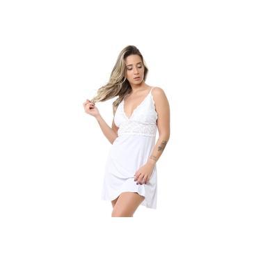Camisola Sex sem bojo branca Com Calcinha Fio dental sensual Isa lingerie