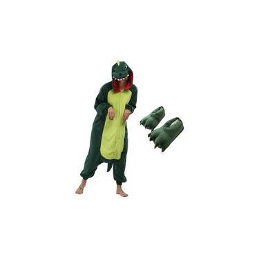 Kit Pijama Dinossauro com Pantufa Verde Jogo Free Fire