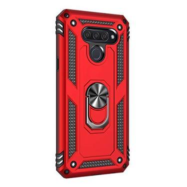 Hicaseer Capa para LG Q60, policarbonato + TPU antiqueda antichoque anti-arranhões magnético 360 graus com suporte giratório para LG Q60 – Vermelho