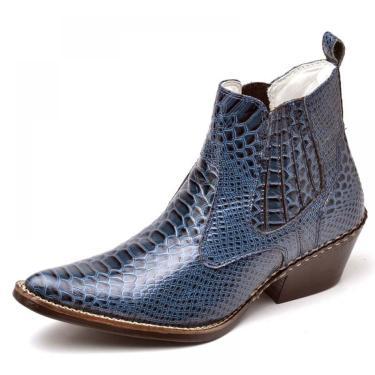 Bota Country Masculina Bico Fino Top Franca Shoes Azul  masculino