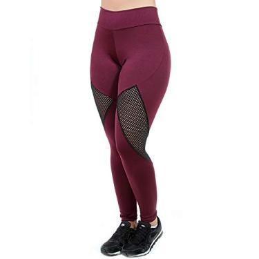 Calça Legging Fitness Feminina Galvic Com Detalhe Tela Tamanho:GG; Cor:Roxo