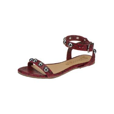 Rasteira Mercedita Shoes Vermelha Animal Print Tira Cruzada Com Esferas Ônix Conforto  feminino