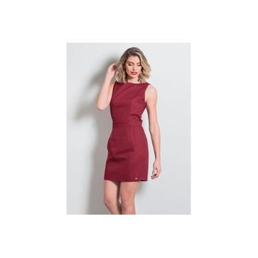 Vestido Feminino Curto Tubinho Bordô Vermelho Quintess Roupas Femininas